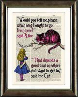 ANTIQUE BOOK PAGE NURSERY ART PRINT Alice in Wonderland Cheshire Cat Pink