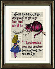 ANTIQUE BOOK PAGE NURSERY ART PRINT Alice in Wonderland Cheshire Cat Pink