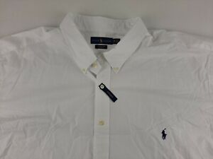 NEW Ralph Lauren Cotton Stretch Men 5XB Big White Shirt Long Sleeve Button Down