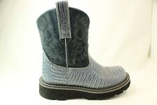 Ariat Fat Baby Cowboy Boots Alligator Print Leather Denim Blue Womens sz 5.5M