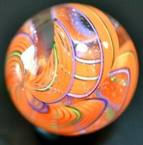 "JAMES ALLOWAY GLASS MARBLE/1.260""-DICHROIC 3 CANE # 3111-LIME,ORANGE, & LAVENDER"
