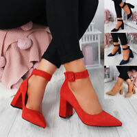 WOMENS LADIES ANKLE BUCKLE STRAP POINTED TOE PUMPS MID HIGH BLOCK HEEL SHOES