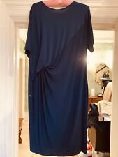 GEORGE DARK BLUE STRETCHY SIDE RUCHE FITTED DRESS SIZE 22