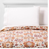 Threshold King Medallion Floral Matelassé' Coverlet, Natural (New Without Tags)