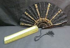 Vintage Blk Chantilly Lace Victorian Hand Fan w/Tortoise Shell Style Handle
