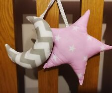 baby cot decoration - set of 2 cushions - pink star and grey/white moon