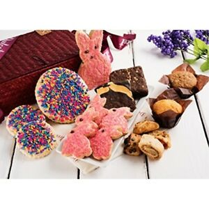 Dulcet Easter Food Gift Basket; Red Woven Basket Includes: Sprinkle Cookies,