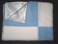 Little Giraffe Blue White Patch Patchwork Baby Blanket Chenille Satin Back Boy
