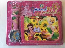 NEW Childrens Kids Girls Tinker bell Peter Pan Purse Wallet Watch Toy Gift Set