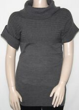 NWT AGB Roll Tab Mix Ribbed Cowlneck Knit Tunic Sweater GREY/LARGE
