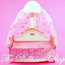 Fisher Price Loving Family Dollhouse Pink Canopy Dolls Bed Kids Bedroom