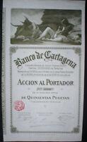Banco de Cartagena 1920 unentwertet + Kuponbogen