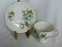 Queen Anne Bone China Cup and Saucer Blue Flowers Made in England Teacup