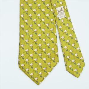 HERMES TIE 5273 SA Sheep & Fence H on Yellow Green Classic Silk Necktie