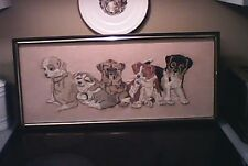 Adorable Vintage Puppies Framed Needlepoint!