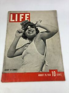 Vintage Life Magazine: Goodby to Summer - August 29, 1938, 10 Cents Issue