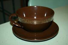 Godiva Chocolatier Brown with Gold Trim Jumbo Hot Chocolate 16 oz Cup and Saucer
