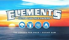 ELEMENTS Single Wide Rolling Papers Ultra Thin Rice 100 Leaves/Pack USA Shipped