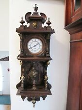 Antique 19 century Ab&C Wooden Wall Clock. Time Only.Many Fancy Brass Decoration