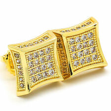 Mens 14k Gold Plated Cz Micro Pave Kite Side Stone Iced Out Hip Hop Earrings 7mm