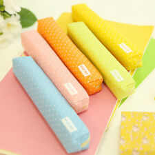 Cute candy color pencil case Kawaii dot Canvas pen bag Stationery pouch School: