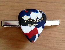 Guitar Pick Plectrum Tie Clip, Pin Fender Heavy Pearlescent Style, Rock, Goth