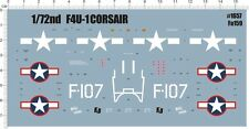 Detail Up 1/72 WW II MARCOR F4U-1 corsair carrier-based Fighter Model Kit Decal