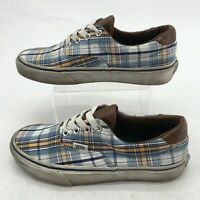 Vans Mens 6 Women 7.5 Era Plaid Casual Sneakers Skateboarding Shoes Blue Low Top