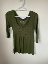 One Step Up Green Quarter Sleeve Top