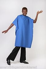 ROYAL BLUE NYLON CUTTING CAPE PERSONALIZED HAIR SALON SHOP STYLIST BARBER 3words