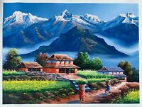 "MOUNT ANNAPURNA FROM DHAMPUS ORIGINAL ACRYLIC PAINTING  ON CANVAS  22"" x 30"""
