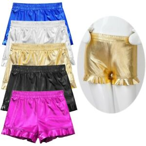 Girls Metallic Dance Shorts Glossy Kids Hot Pants Plain Bottoms Gymnastics Sport