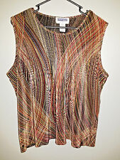 Women's 1X Prophecy by Sag Harbor print tank/ sleeveless top: ribbed, cute!