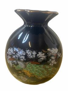 Black Ceramic Japanese Peacock Vase Gold Scalloped Trim Edges