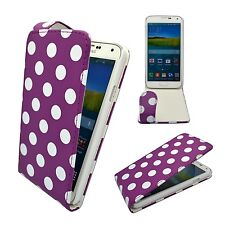 CASE FOR SAMSUNG GALAXY S5 PURPLE WHITE POLKA DOT STYLE LEATHER FLIP POUCH COVER
