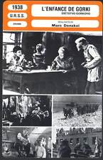 FICHE CINEMA : L'ENFANCE DE GORKI - M.Donskoy 1938 - The Chilhood Of Maxim Gorky