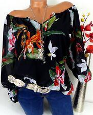Bluse Carmen Italy Top Tunika Shirt Poncho  doppellagig Viskose Schwarz 44 46