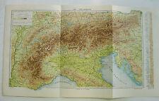 stampa antica mappa NORD ITALIA VERONA PADOVA VENEZIA BOLOGNA TORINO MILANO 1931