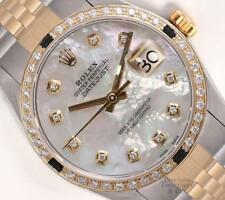Rolex Datejust Two Tone Gold/SS-White MOP Diamond Dial-Black Gem & Diamond Bezel