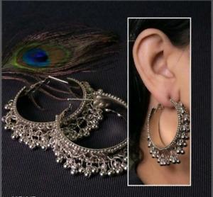 Gold hoops mandala Statement hoops large Flower earrings Gold plated silver tribal hoop earrings