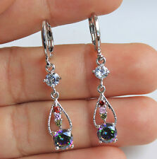 18K White Gold Filled - Ruby MYSTICAL Topaz Waterdrop Hollow Party Hoop Earrings