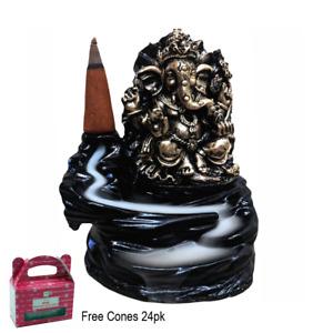 Ganesha Gold Backflow Burner Waterfall Smoke Holder With Cones