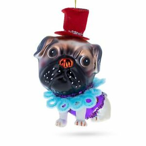 Pug in the Red Hat Glass Christmas Ornament