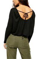 Free People Bondi Thermal Long-Sleeve Back Scoop Top Black XS S NWT $68 ABFB