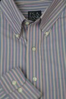 Jos A Bank Men's Travelers Gray Beige Red Stripe Cotton Casual Shirt L Large