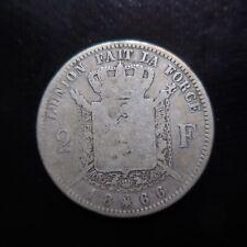 Pièce monnaie 2 francs 1866 Léopold II Roi des Belges graveur I. WIENER N4054