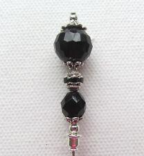 "BLACK CRYSTAL Vintage Antique Tibetan Silver Style 6"" Hat Pin Jellybean"