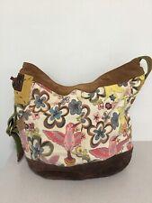 Lucky Brand Vintage Inspired Canvas Leather Shoulder Crossbody Weekender Bag NEW