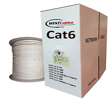 Bulk Cat6 Plenum 1000ft Cable Solid Copper Ethernet 23AWG Wire  Gray Color