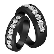 1.54 Carat His & Hers Diamond Wedding Bands 14K Black Gold Vintage Style Canal